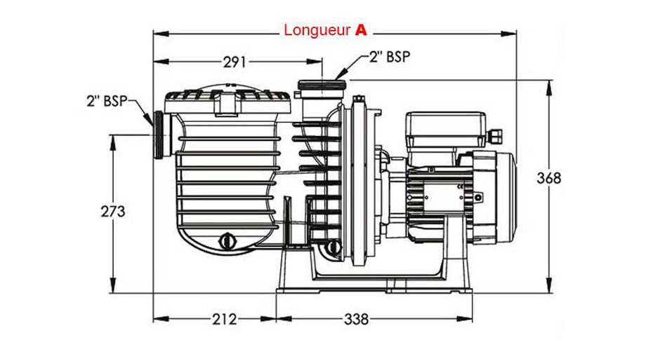dimensions de la pompe centrifuge de piscine Sta Rite 5P6R