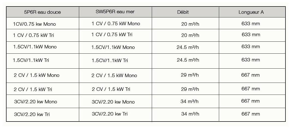 caractéristiques de la pompe de filtration starite 5P6R