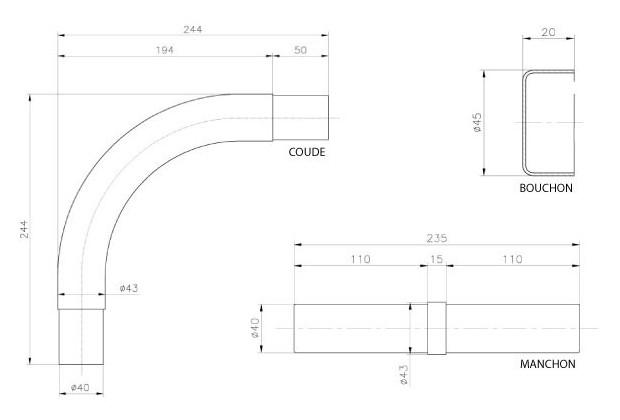 maion courante - accessoires assemblage dimensions