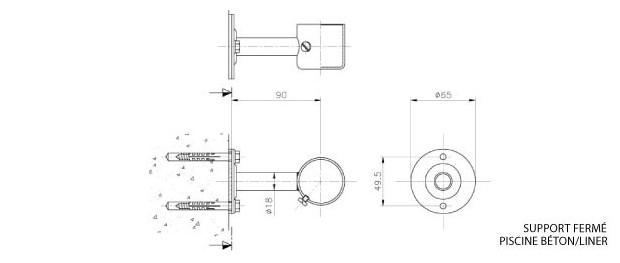 Accessoires pour la fixation de rampe piscine piscine for Rampe inox pour piscine