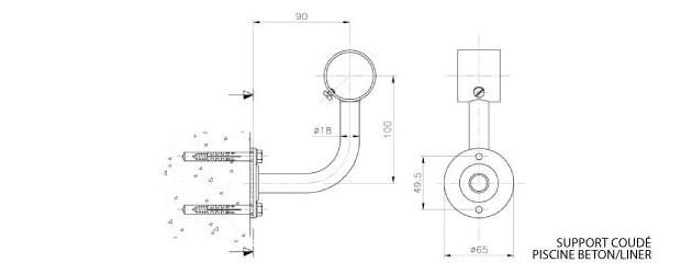 main courante - support coudé béton/liner