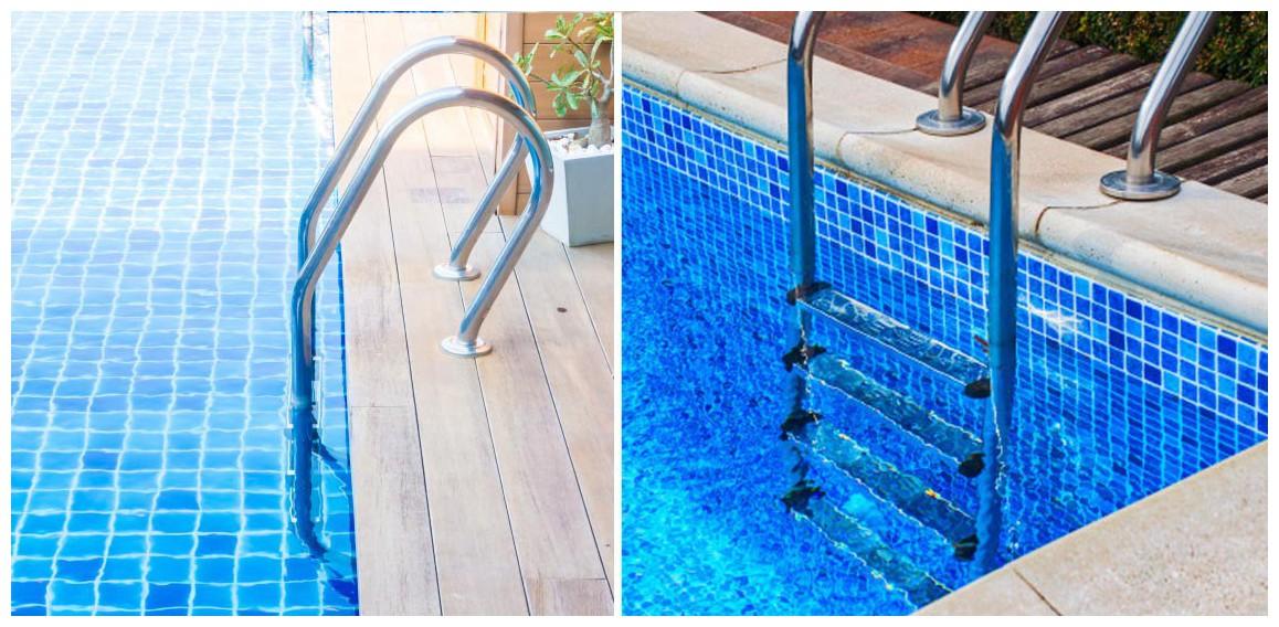 détails de l'échelle mixte tout inox pour piscine enterrée