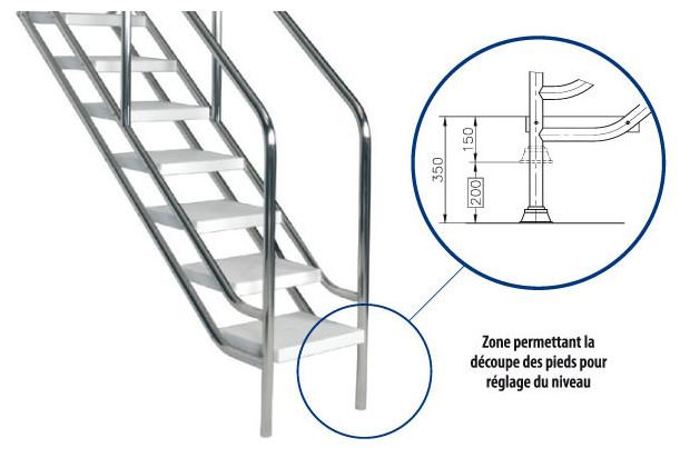 escalier inox ajustable acc s facilit et s curis la piscine piscine center net. Black Bedroom Furniture Sets. Home Design Ideas