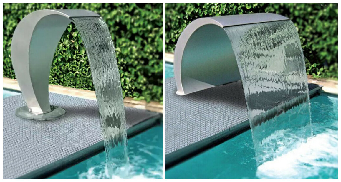 cascade inox pour piscine astral cisne en situation