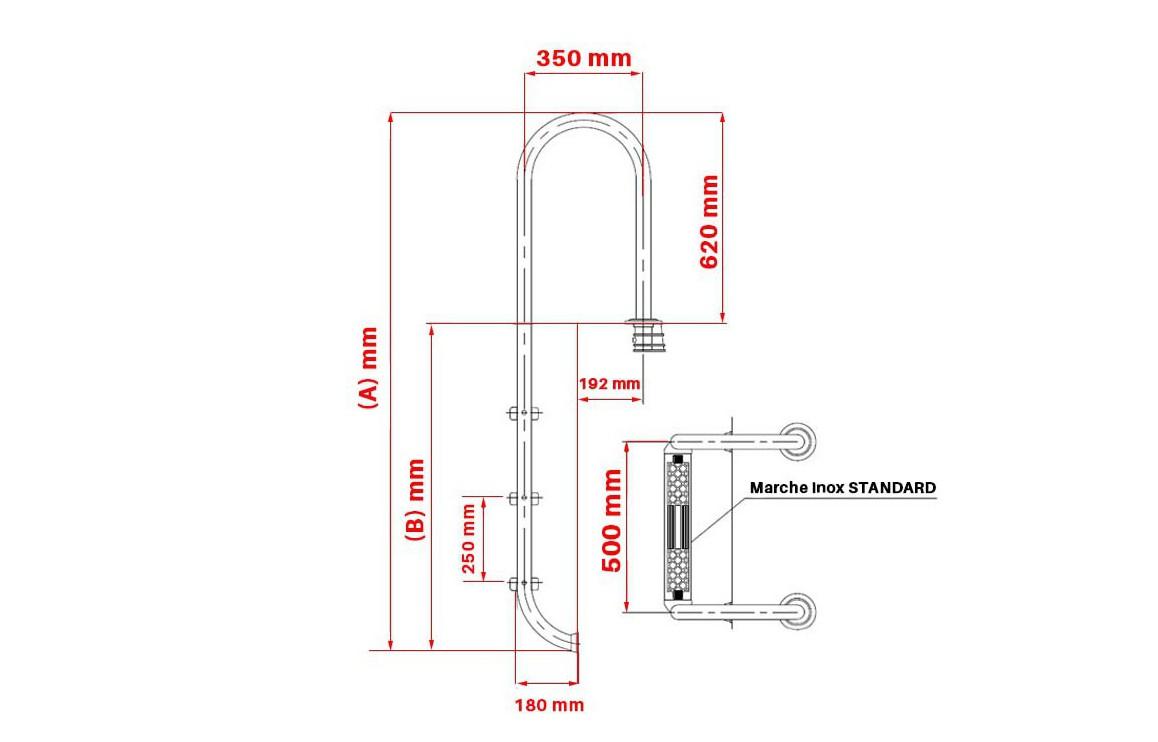 schéma dimensions échelle droite inox pour piscine