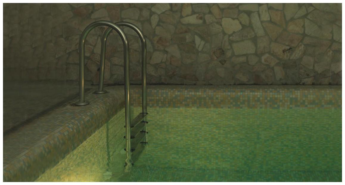 échelle droite de piscine en inox astral en situation