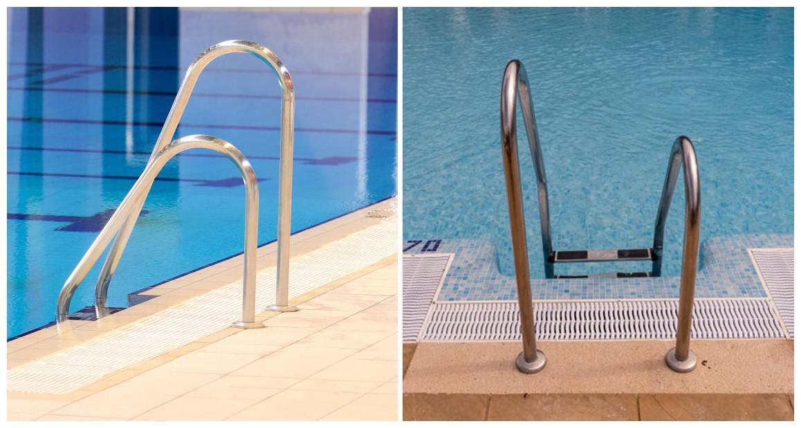 échelle asymétrique tout inox pour piscine enterrée