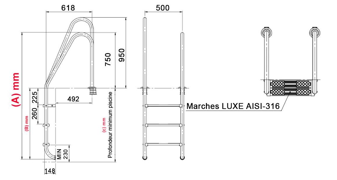 schéma dimensions de l'échelle asymétrique de piscine tout inox