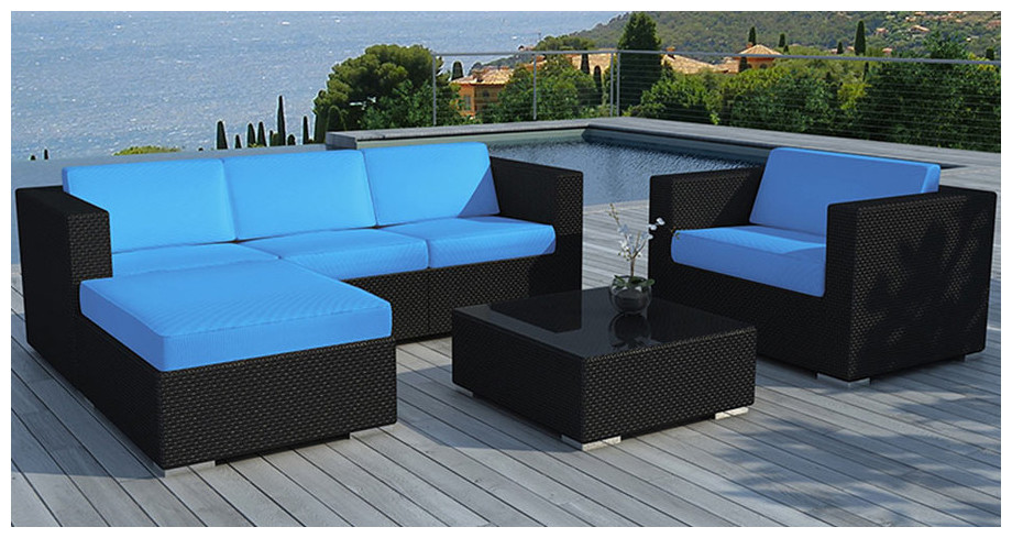 Salon de jardin maxi confort en r sine modulable for Salon jardin bleu