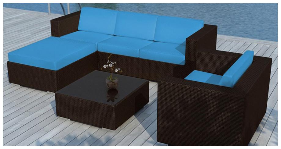 détail accoudoirs salon de jardin Capella bleu turquoise