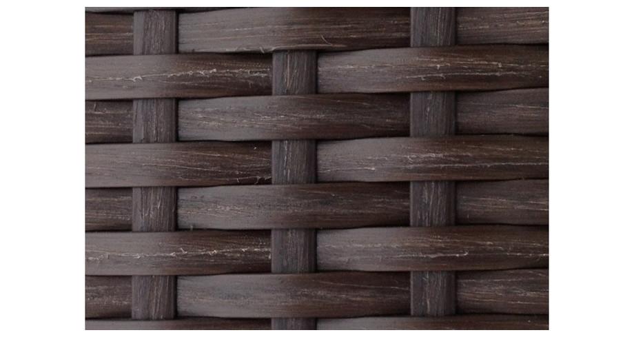 Tressage de la résine chocolat du salon de jardin Alhena avec housse vert anis