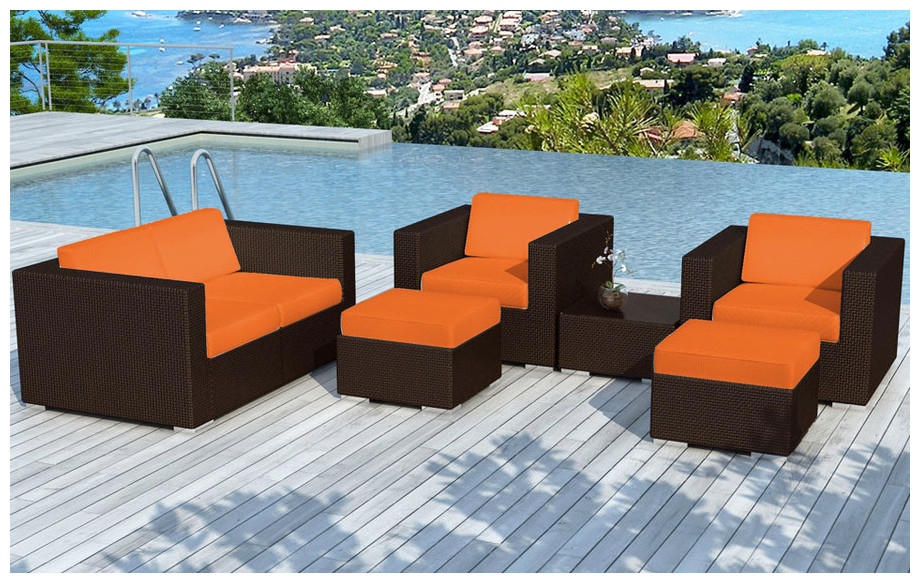 salon de jardin bas orange en r sine tress e chocolat piscine center net. Black Bedroom Furniture Sets. Home Design Ideas