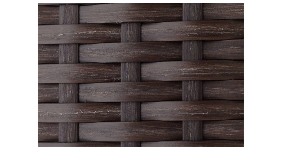 Tressage de la résine chocolat du salon de jardin Alhena avec housse bleu