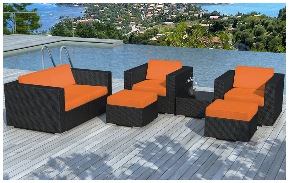 salon de jardin en r sine plate noire coussins oranges piscine center net. Black Bedroom Furniture Sets. Home Design Ideas