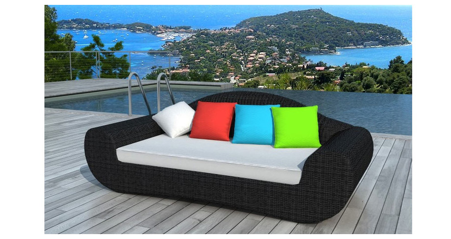 canap de jardin en r sine noire coussins couleurs piscine center net. Black Bedroom Furniture Sets. Home Design Ideas