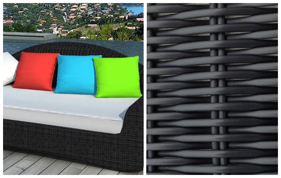 Sofa de jardin en résine noire - Coussins multicolores | Jardin ...