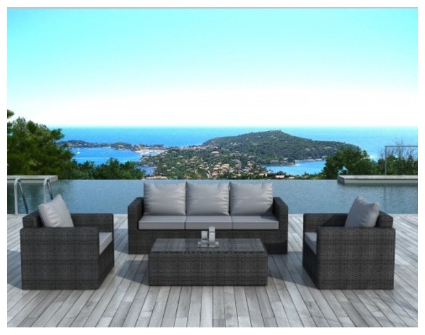 beau salon de jardin en r sine grise fonc 5 places piscine center net. Black Bedroom Furniture Sets. Home Design Ideas