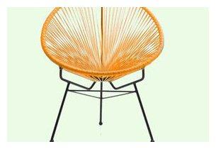 Fauteuil d'extérieur Design en acier noir et résine tendue orange