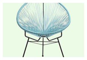 Fauteuil d'extérieur Design en aceir noir et résine tendue bleu