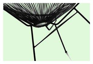 Détail de la structure en acier du fauteuil d'extérieur Désign noir en résine tendue