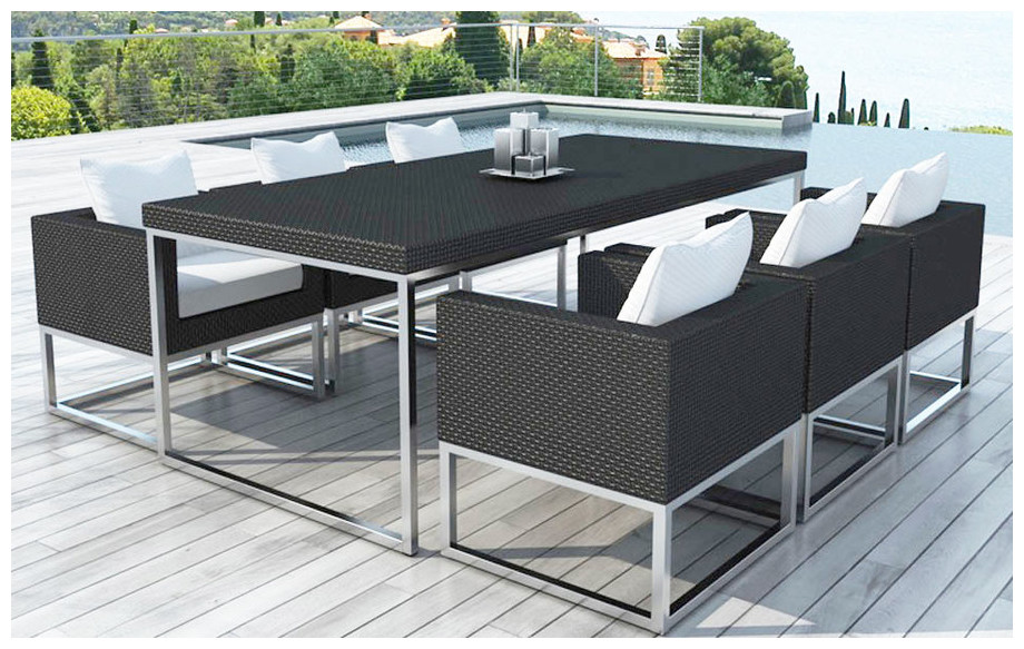 Table et fauteuils en r sine et aluminium bross piscine center net for Table ronde en resine tressee