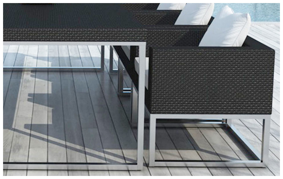 Détail empiétement fauteuil de jardin Régulus en résine et aluminium