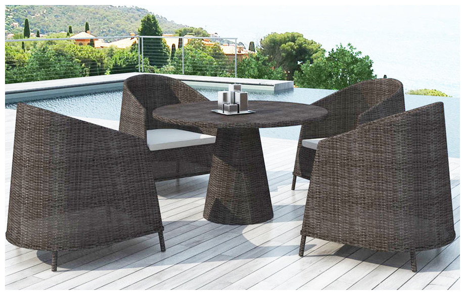 Ensemble table et chaises en résine tressé Naos Delorm