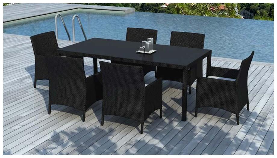 table et fauteuil hades resine noire