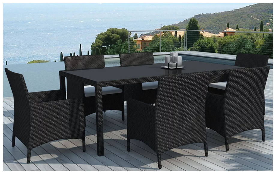 hades table et chaises de jardin en r sine noire jardin. Black Bedroom Furniture Sets. Home Design Ideas