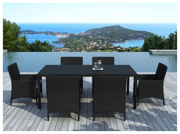 hades table et chaises de jardin en r sine noire. Black Bedroom Furniture Sets. Home Design Ideas