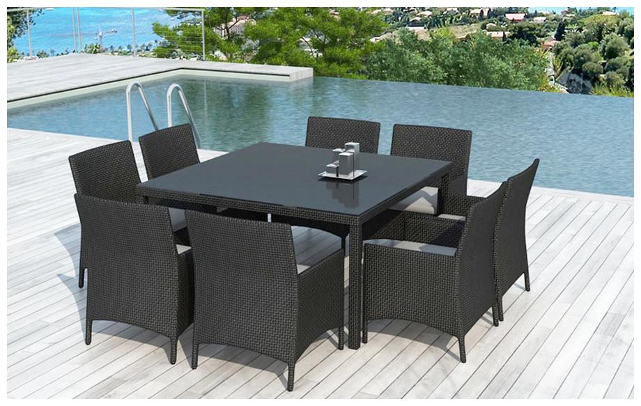 Table et chaises de jardin Leda en résine tressée noire