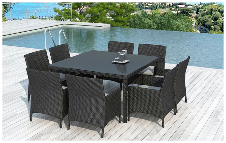 Table et chaises d 39 ext rieur en r sine 8 places jardin for Table exterieur resine tressee