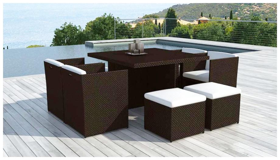 Table et chaise en résine chocolat 8 places