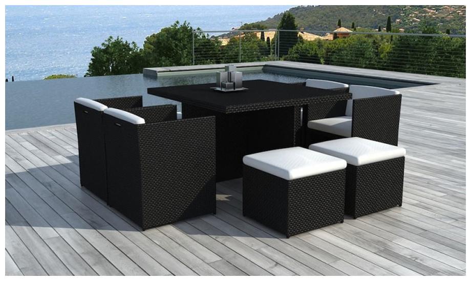 table et chaise Delorm en résine noire 8 places