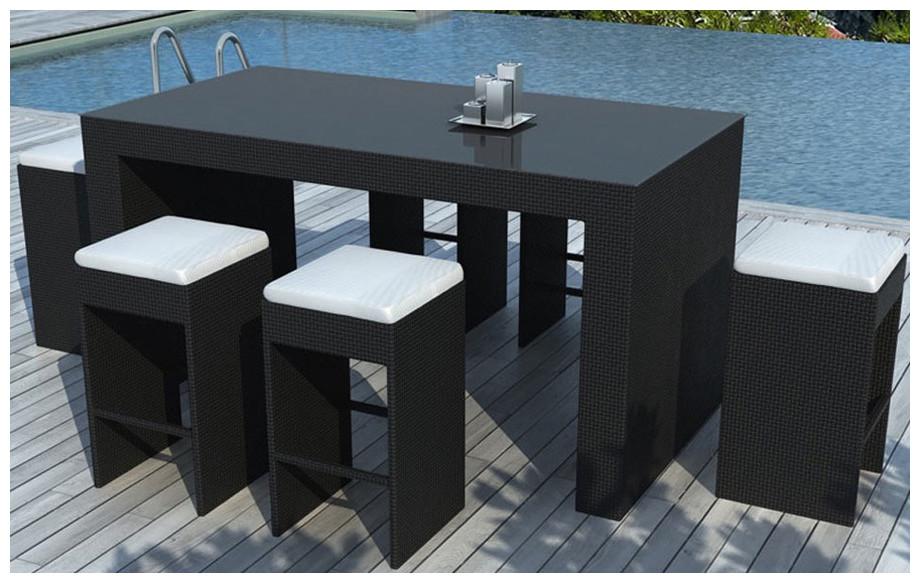 Table et tabourets de jardin Rhéa Noir