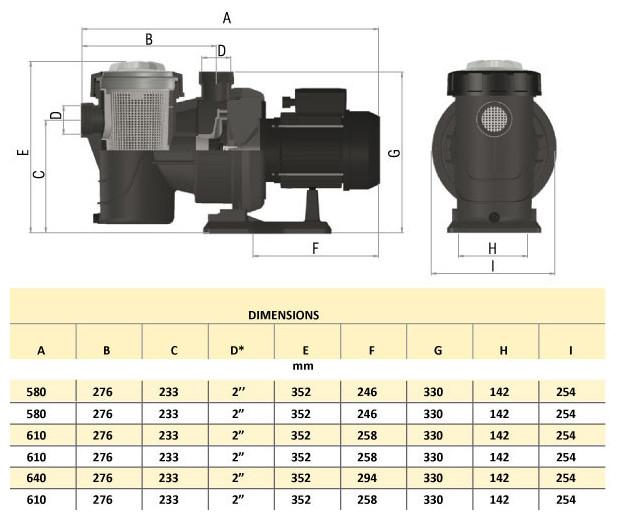 dimensions europlus compatible pompe piscine ultraflow