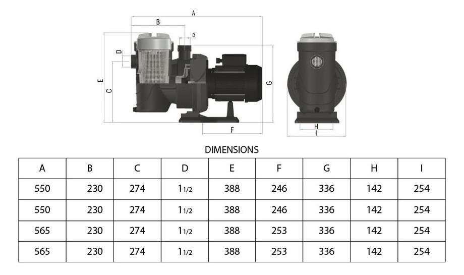 Pompe piscine Starplus - dimensions
