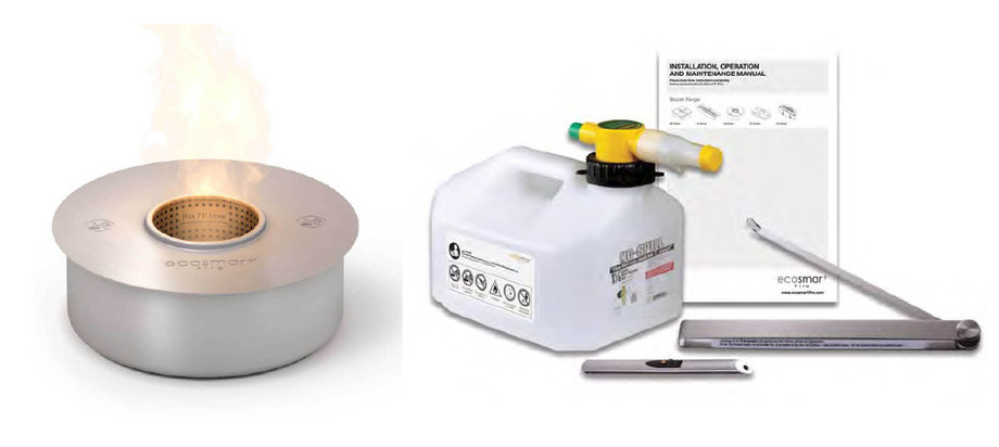 Bulb - cheminée de plein air au bio éthanol - contenu
