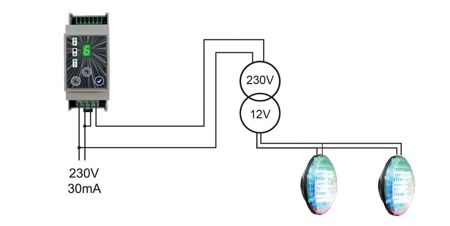 boîtier de commande Brio MOD Rc pour projecteurs led piscine installation