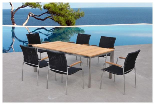 Melbourne table et chaises de jardin salon repas for Table et chaises de jardin en teck