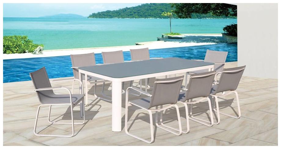 Salon repas aluminium peint blanc textil ne piscine for Piscine et jardin touquet