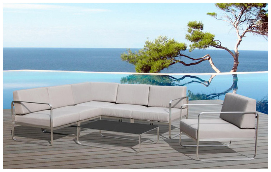 Confortable salon de jardin d 39 angle st barth 6 places for Piscine center