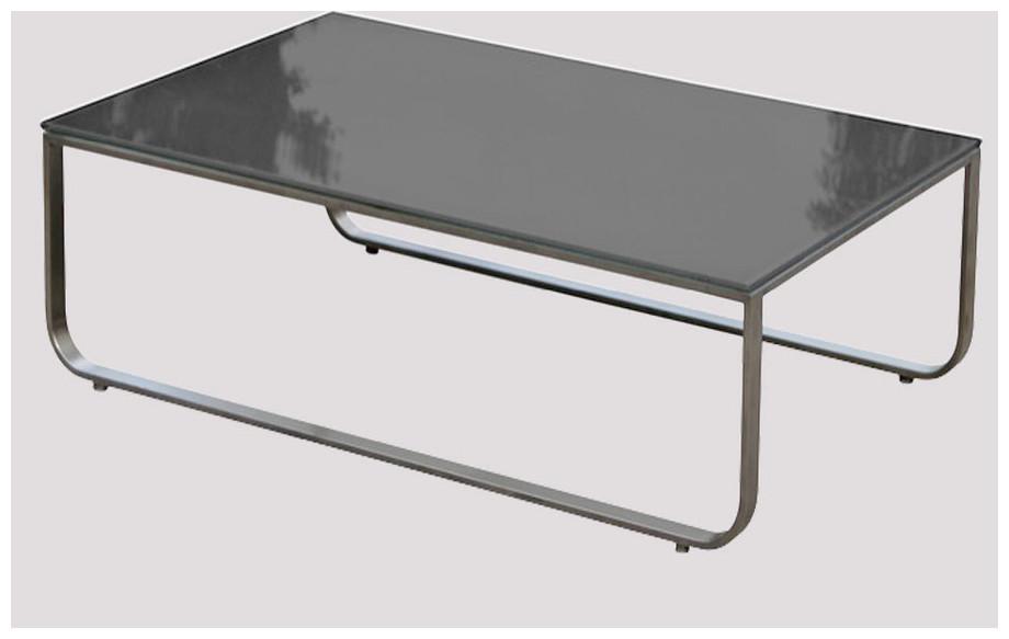 Détail table basse du salon bas de jardin d'extérieur St Barth en acier brossé et tissus Oléfine taupe