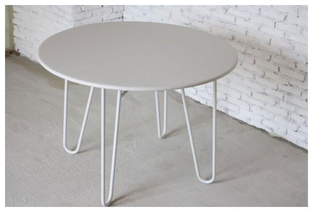 Petite table de jardin ronde m tal blanc jardin - Petite table ronde blanche ...