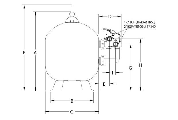 filtre a sable triton schéma dimensions
