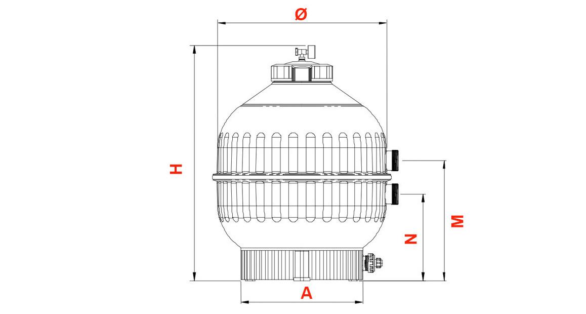 schéma des dimensions du filtre à sable pour piscine side cantabric astral