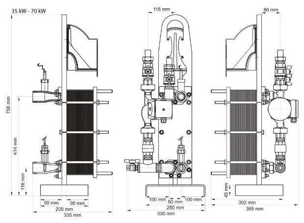 uranus echangeur piscine - dimensions 35 et 70 kW