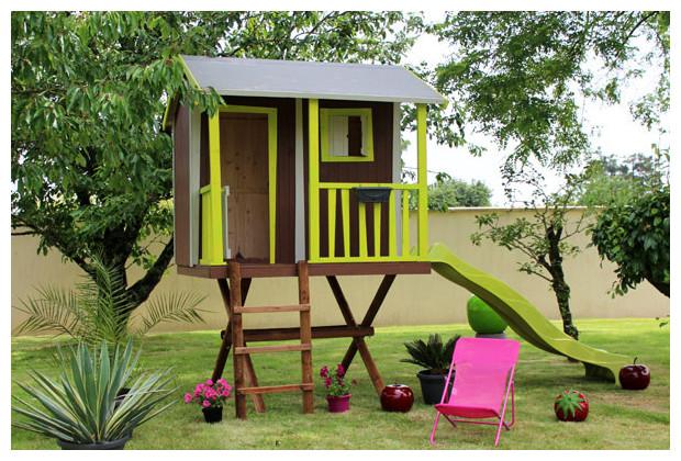 Cabane dans les arbres maisonnette en bois pour enfants jardin - Construire maisonnette en bois ...