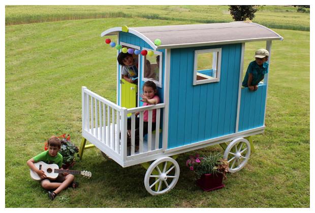 maisonnette roulotte carry jeu d 39 enfants s curis jardin. Black Bedroom Furniture Sets. Home Design Ideas