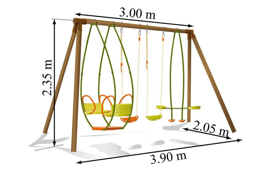 Dimension du portique et de la balançoire pour enfant en bois Safran